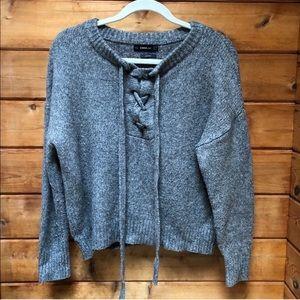 Zara wool lace up sweater M warm cozy gray comfy